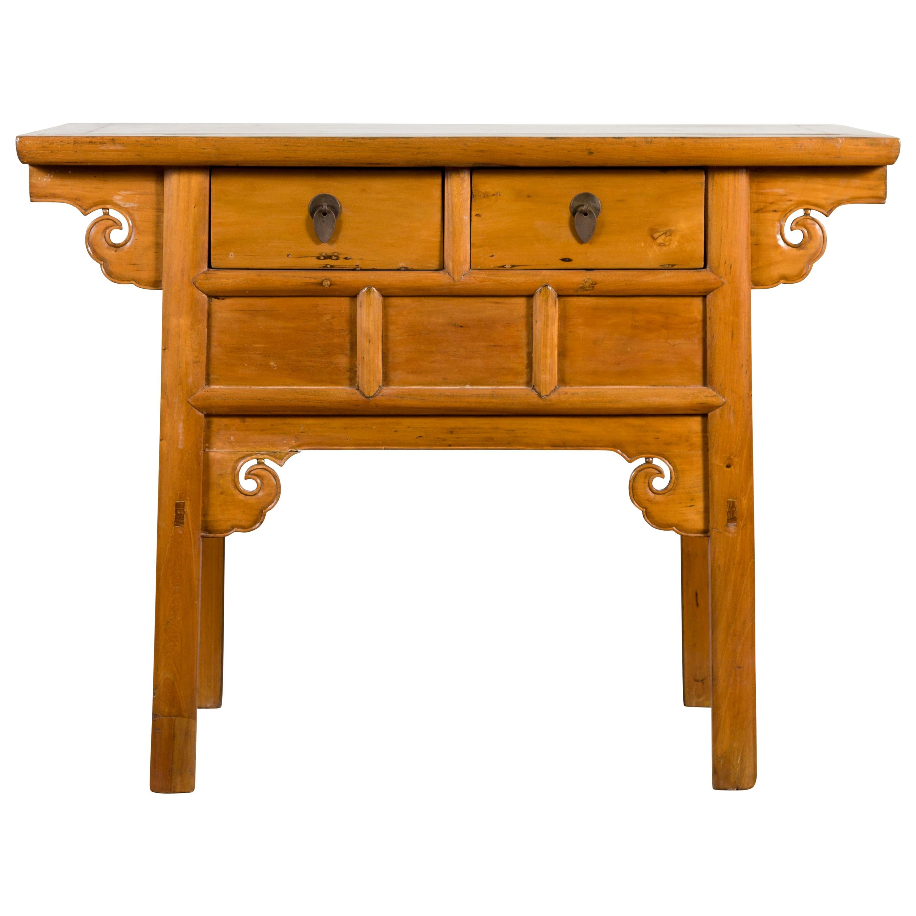 Chinese 19th Century Qing Dynasty Elm Table with Carved Spandrels and Drawers