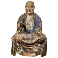 Chinese 19th Century Qing Dynasty Hand Carved and Painted Seated Buddhist Monk