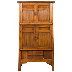 Chinese 19th Century Qing Dynasty Kitchen Cabinet with Bamboo and Sliding Panels