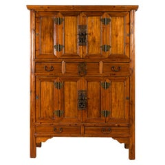 Chinese 19th Century Qing Dynasty Period Accordion Door Cabinet with Drawers
