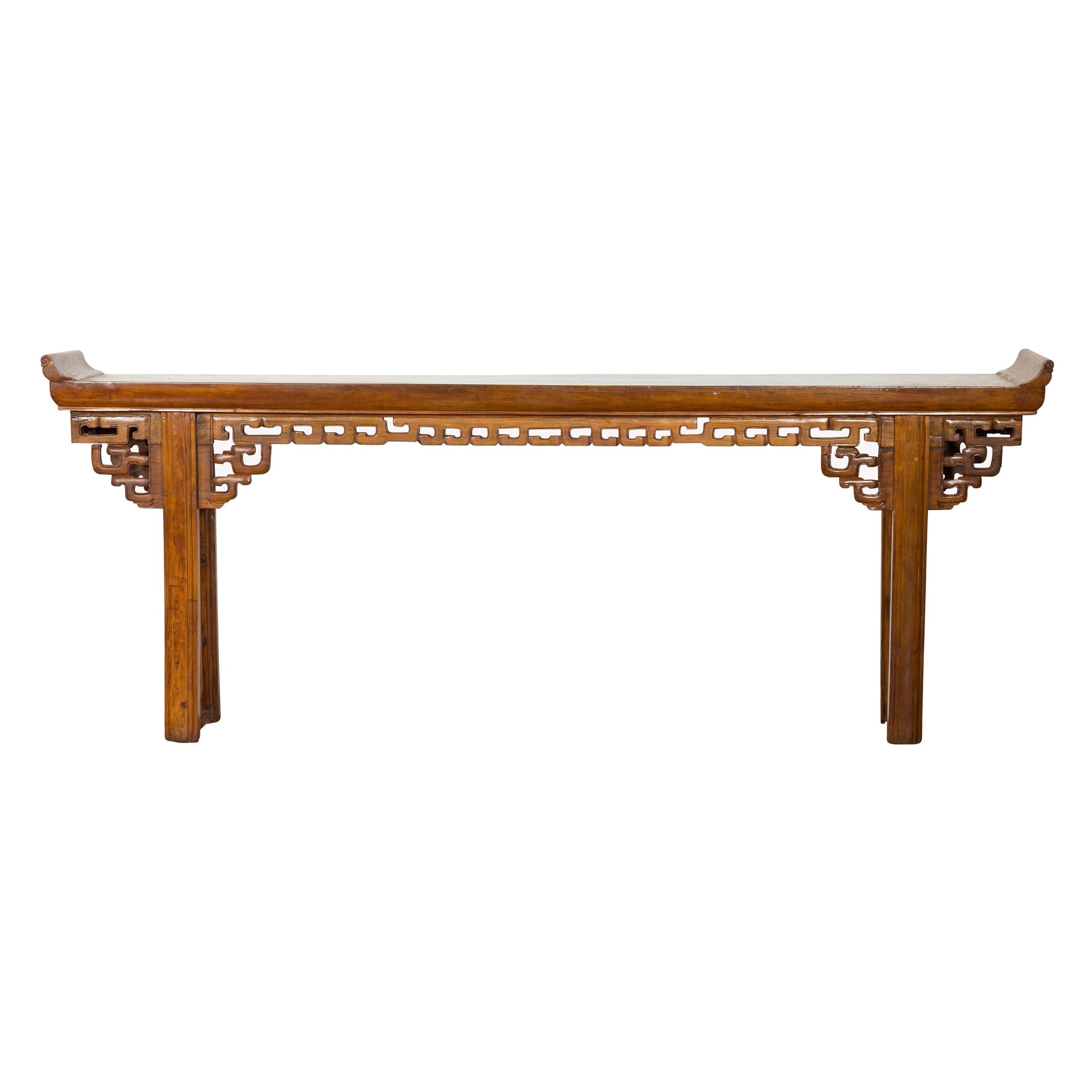 Chinese 19th Century Qing Dynasty Period Altar Console Table with Open Fretwork