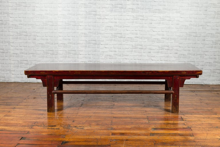 Chinese 19th Century Qing Dynasty Period Coffee Table with Distressed Patina In Good Condition For Sale In Yonkers, NY