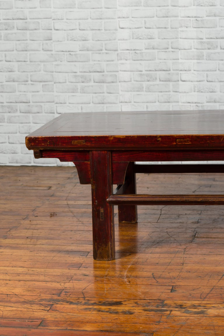 Wood Chinese 19th Century Qing Dynasty Period Coffee Table with Distressed Patina For Sale