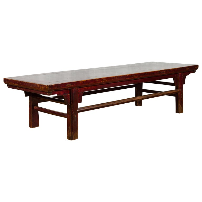 Chinese 19th Century Qing Dynasty Period Coffee Table with Distressed Patina For Sale