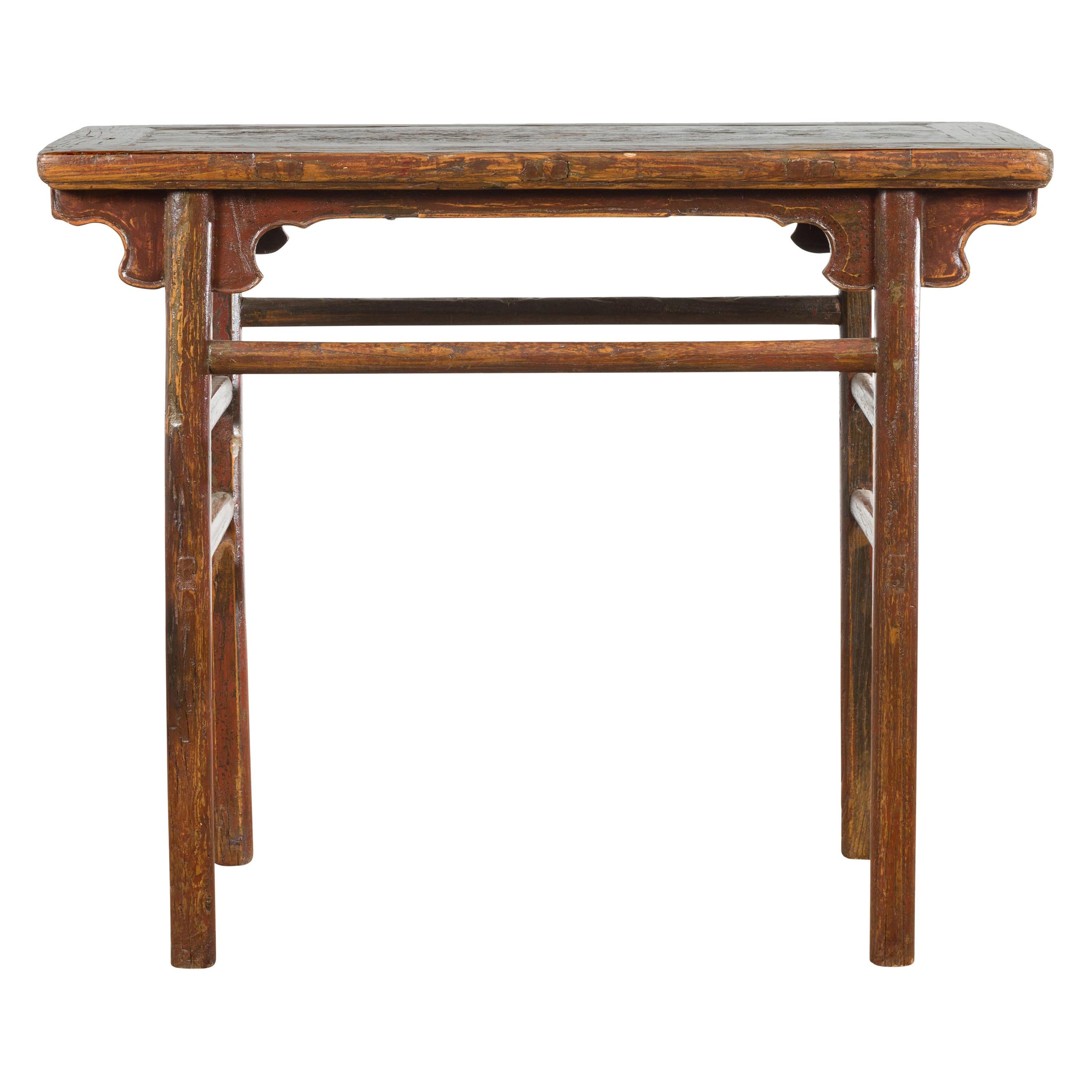 Chinese 19th Century Qing Dynasty Period Console Table with Carved Spandrels