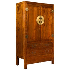 Chinese 19th Century Qing Dynasty Period Elmwood Cabinet with Doors and Drawers