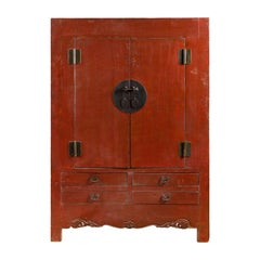 Chinese 19th Century Qing Dynasty Red Lacquer Cabinet with Medallion Hardware