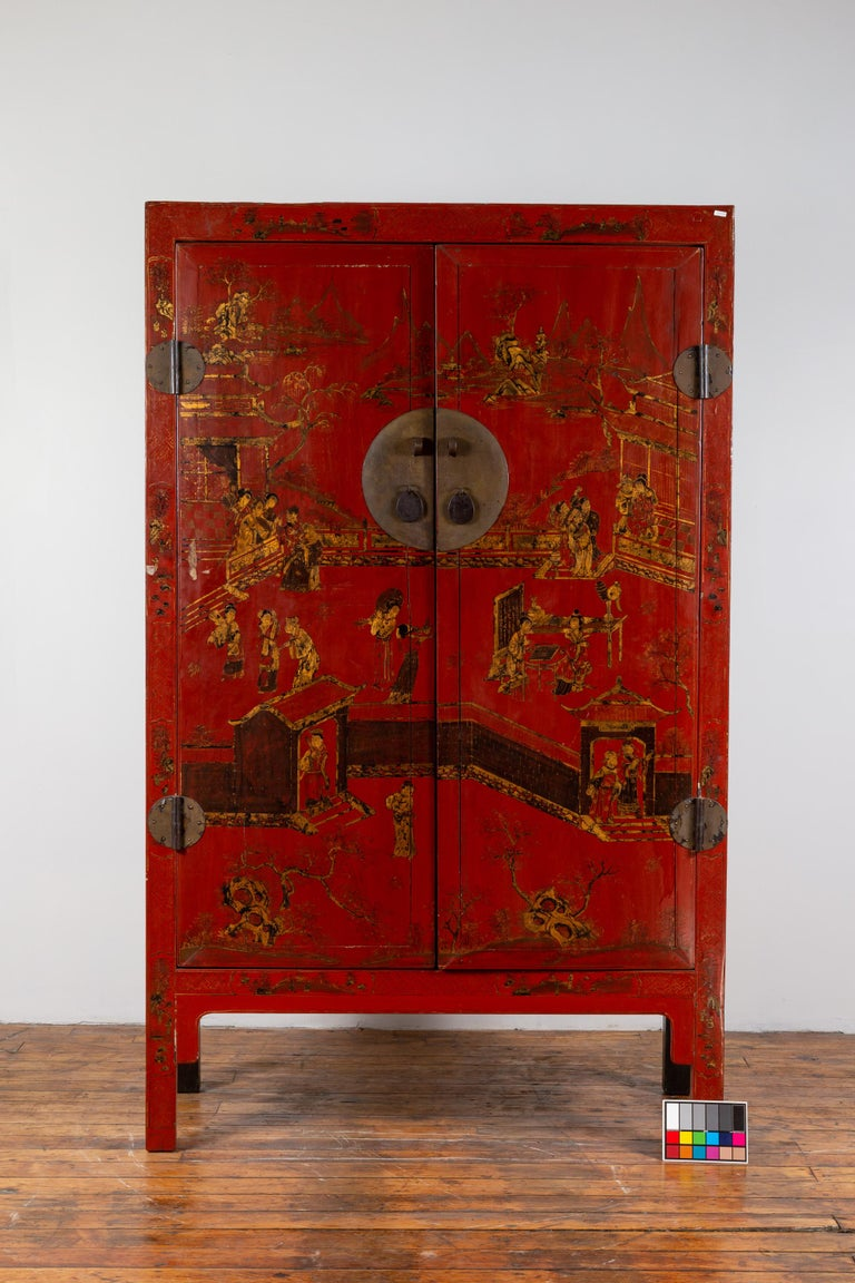 Chinese 19th Century Qing Dynasty Red Lacquered Cabinet ...