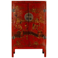 Chinese 19th Century Qing Dynasty Red Lacquered Cabinet with Chinoiserie Décor