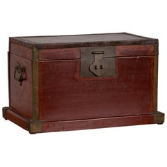 Chinese 19th Century Red Lacquered Treasure Chest Box with Brass Hardware