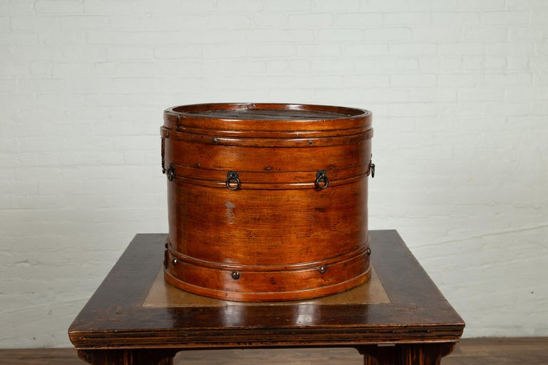 Chinese 19th Century Round Lidded Wooden Basket with Rattan Top and Warm Patina For Sale 4