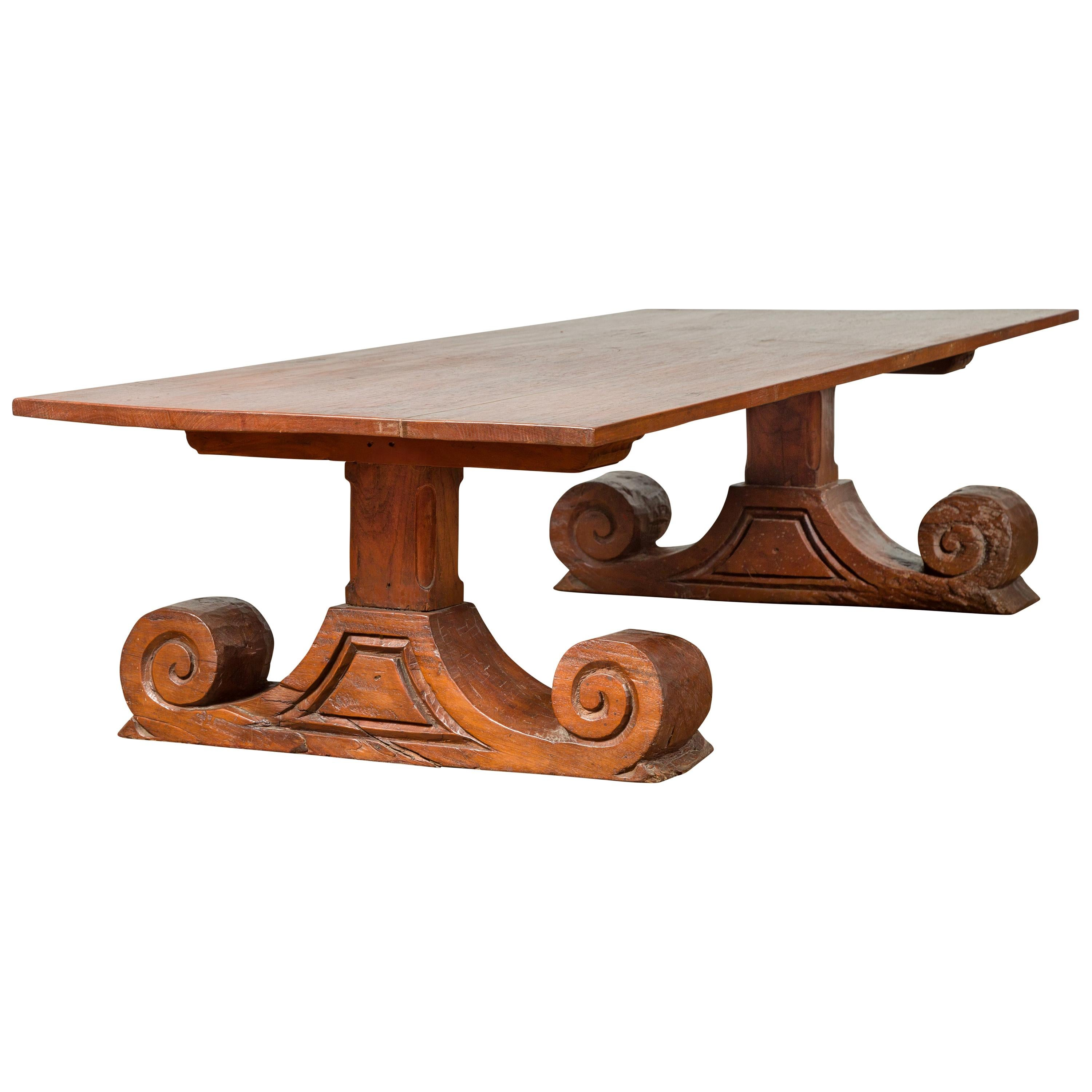 Chinese 19th Century Rustic Elmwood Coffee Table with Large Scrolling Feet