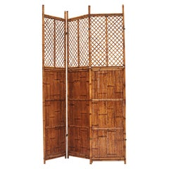 Chinese 19th Century Three-Panel Lettice Bamboo Screen