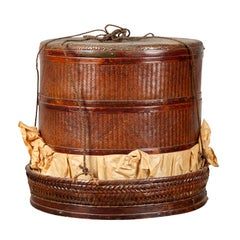 Chinese 19th Century Tiered Food Basket with Stacking Parts, Paper and Rope Ties