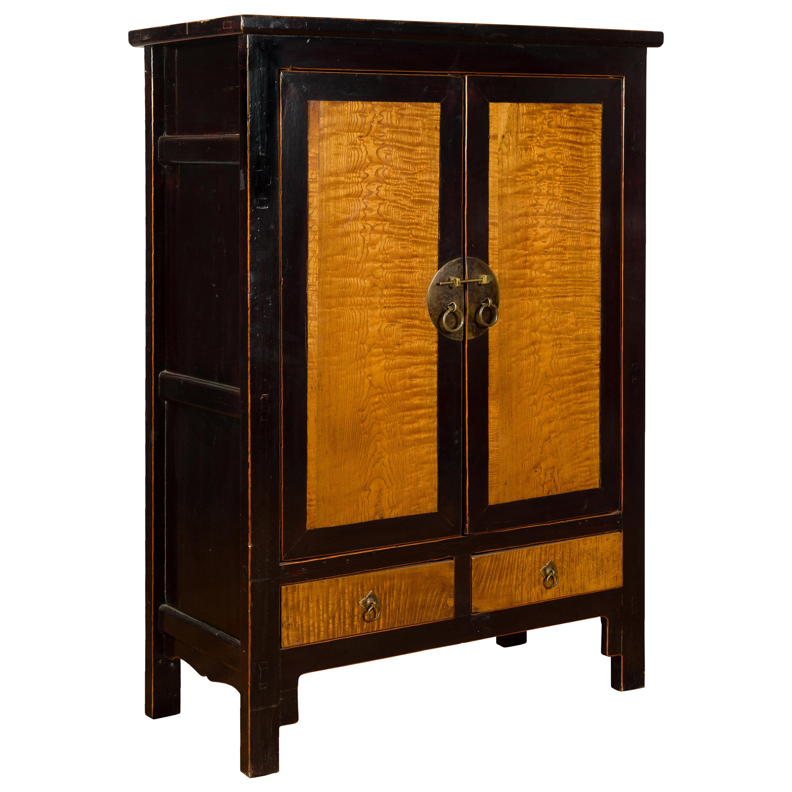 Chinese 19th Century Two-Door Black Cabinet with Inset Burl Panels and Drawers