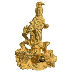 Chinese 24 Karat Textured Gold Sculpture of Guanyin Riding a Dragon