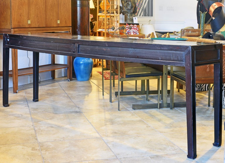 Chinoiserie Chinese 7 Drawer Lacquered Console Table, 8 Feet Plus Long, Restored