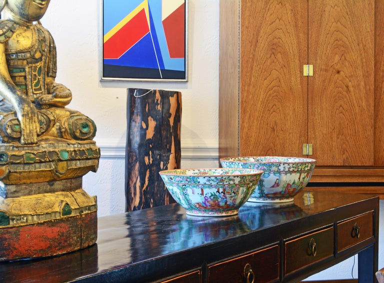 Chinese 7 Drawer Lacquered Console Table, 8 Feet Plus Long, Restored In Good Condition In Ft. Lauderdale, FL