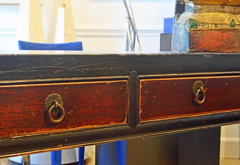 19th Century Chinese 7 Drawer Lacquered Console Table, 8 Feet Plus Long, Restored