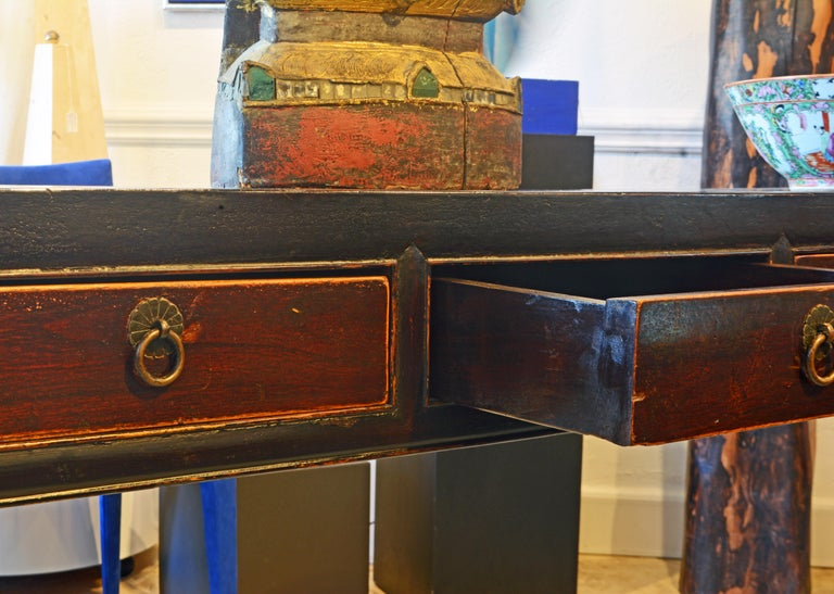 Brass Chinese 7 Drawer Lacquered Console Table, 8 Feet Plus Long, Restored