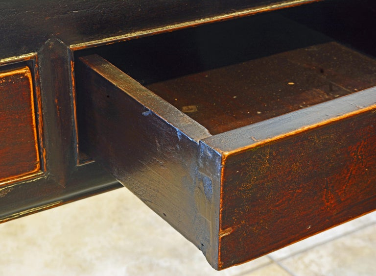 Chinese 7 Drawer Lacquered Console Table, 8 Feet Plus Long, Restored 1