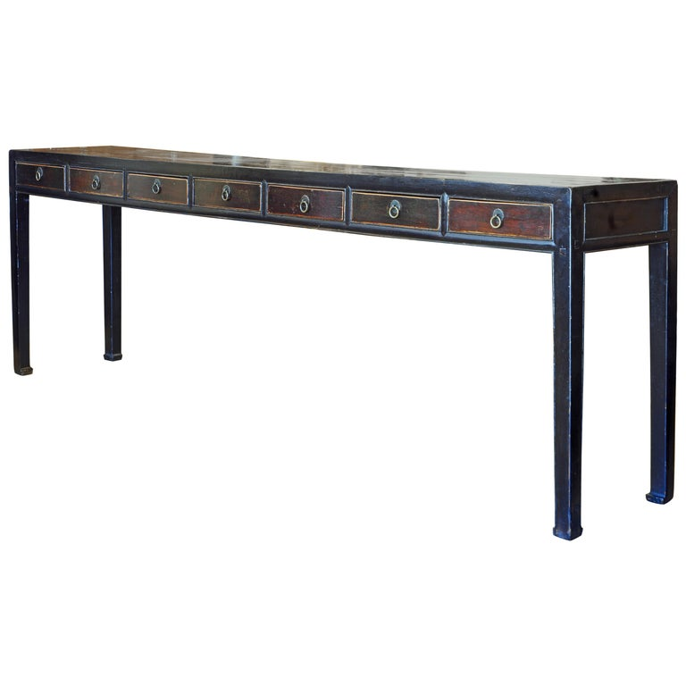 Chinese 7 Drawer Lacquered Console Table, 8 Feet Plus Long, Restored