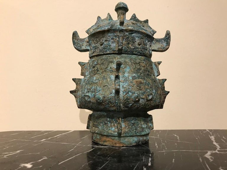 Chinese Achaistic Shang Dynasty Style Bronze Lidded Vessel For Sale 4