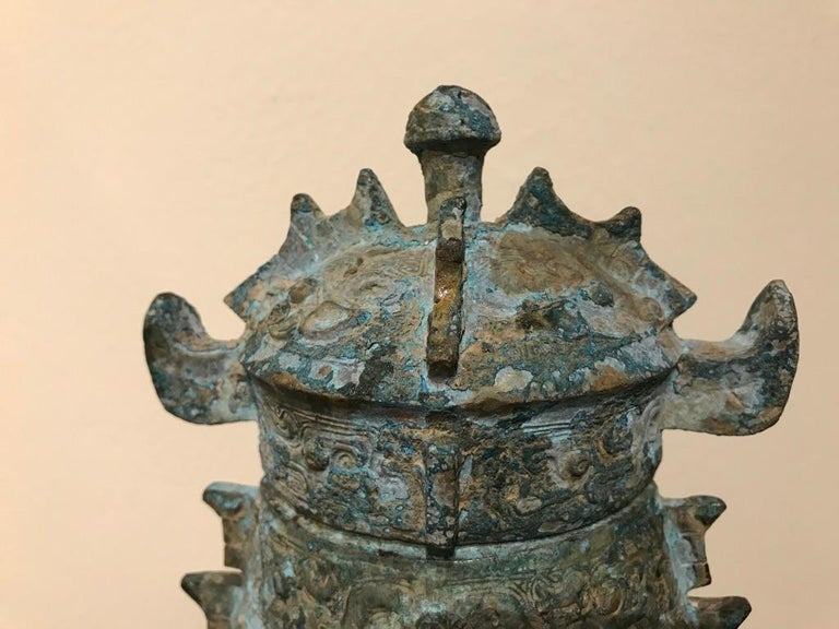 Chinese Achaistic Shang Dynasty Style Bronze Lidded Vessel For Sale 6