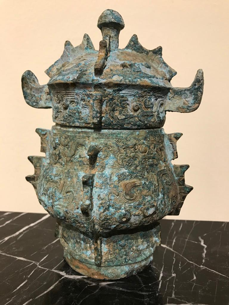 Chinese Achaistic Shang Dynasty Style Bronze Lidded Vessel For Sale 7