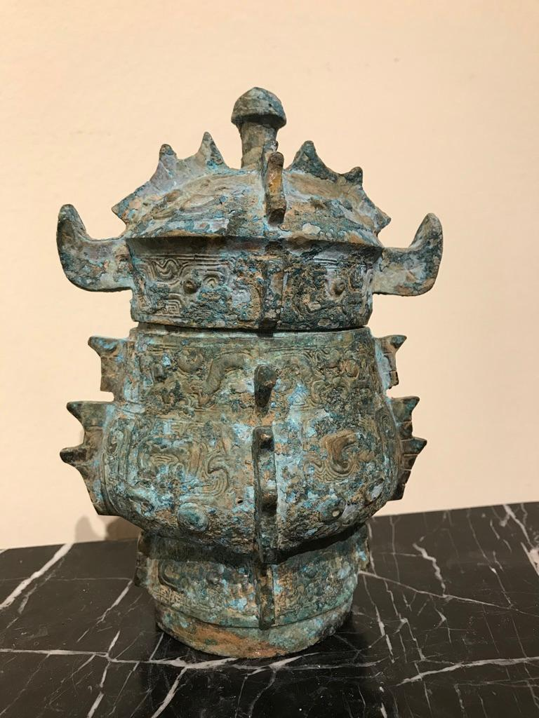 Chinese Achaistic Shang Dynasty Style Bronze Lidded Vessel For Sale 8
