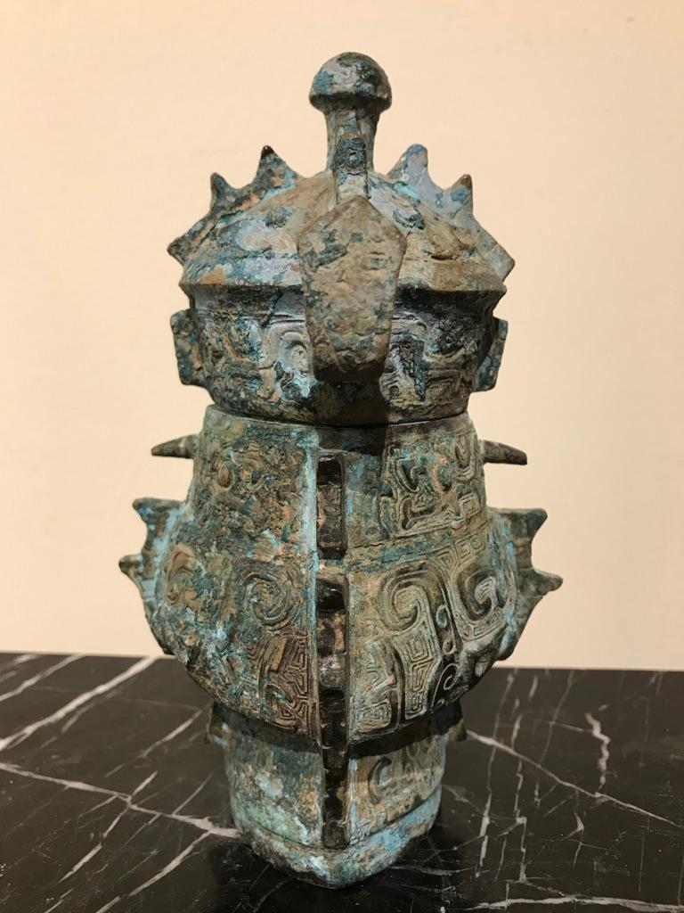 Chinese Achaistic Shang Dynasty Style Bronze Lidded Vessel For Sale 10