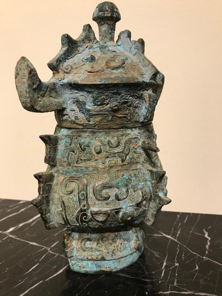 Chinese Achaistic Shang Dynasty Style Bronze Lidded Vessel For Sale 11