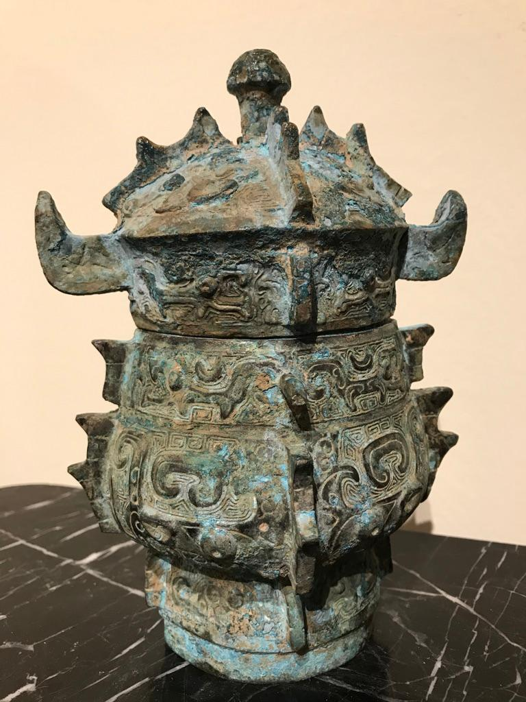Chinese Achaistic Shang Dynasty Style Bronze Lidded Vessel For Sale 12