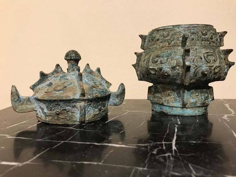 Chinese Achaistic Shang Dynasty Style Bronze Lidded Vessel For Sale 13