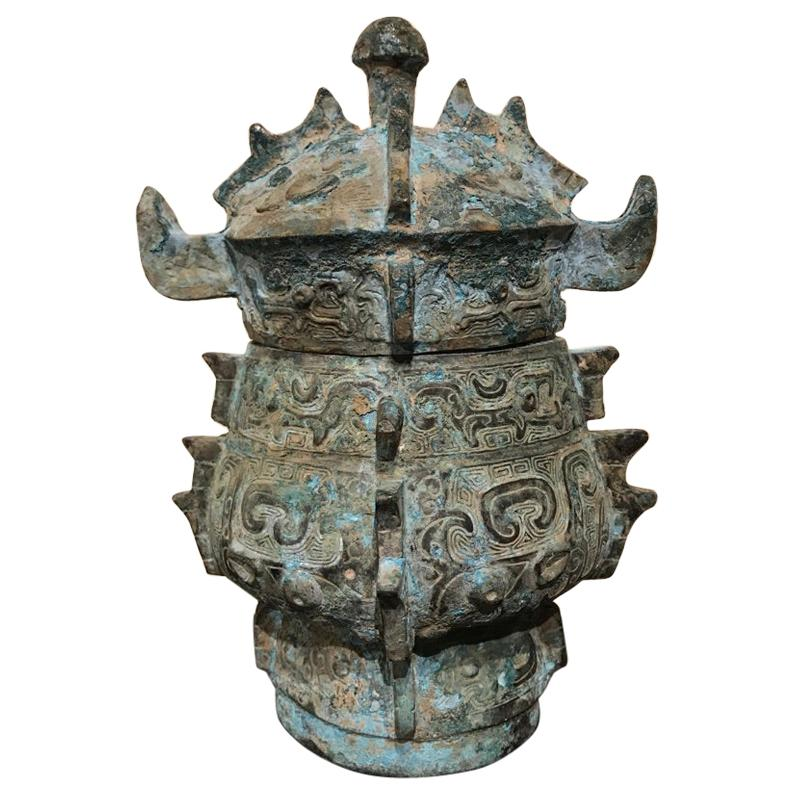 Chinese Achaistic Shang Dynasty Style Bronze Lidded Vessel
