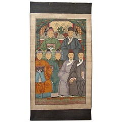 Chinese Ancestor Painting with Seven Figures