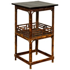 Chinese Antique Bamboo Lamp Table with Shelf, Geometric Patterns and Black Top