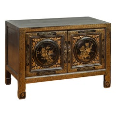Chinese Antique Black and Gold Lacquered Cabinet with Floral and Bird Decor
