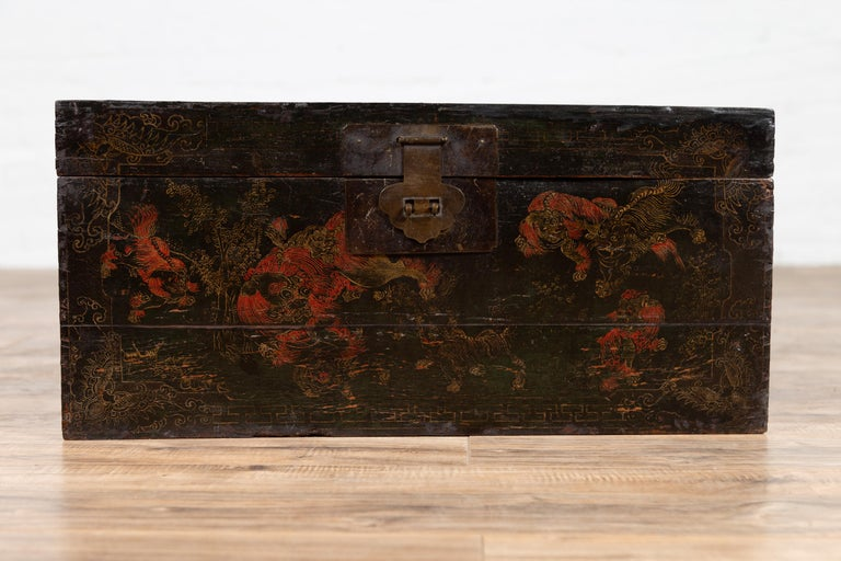 Chinese Antique Black Lacquered Blanket Chest With Hand