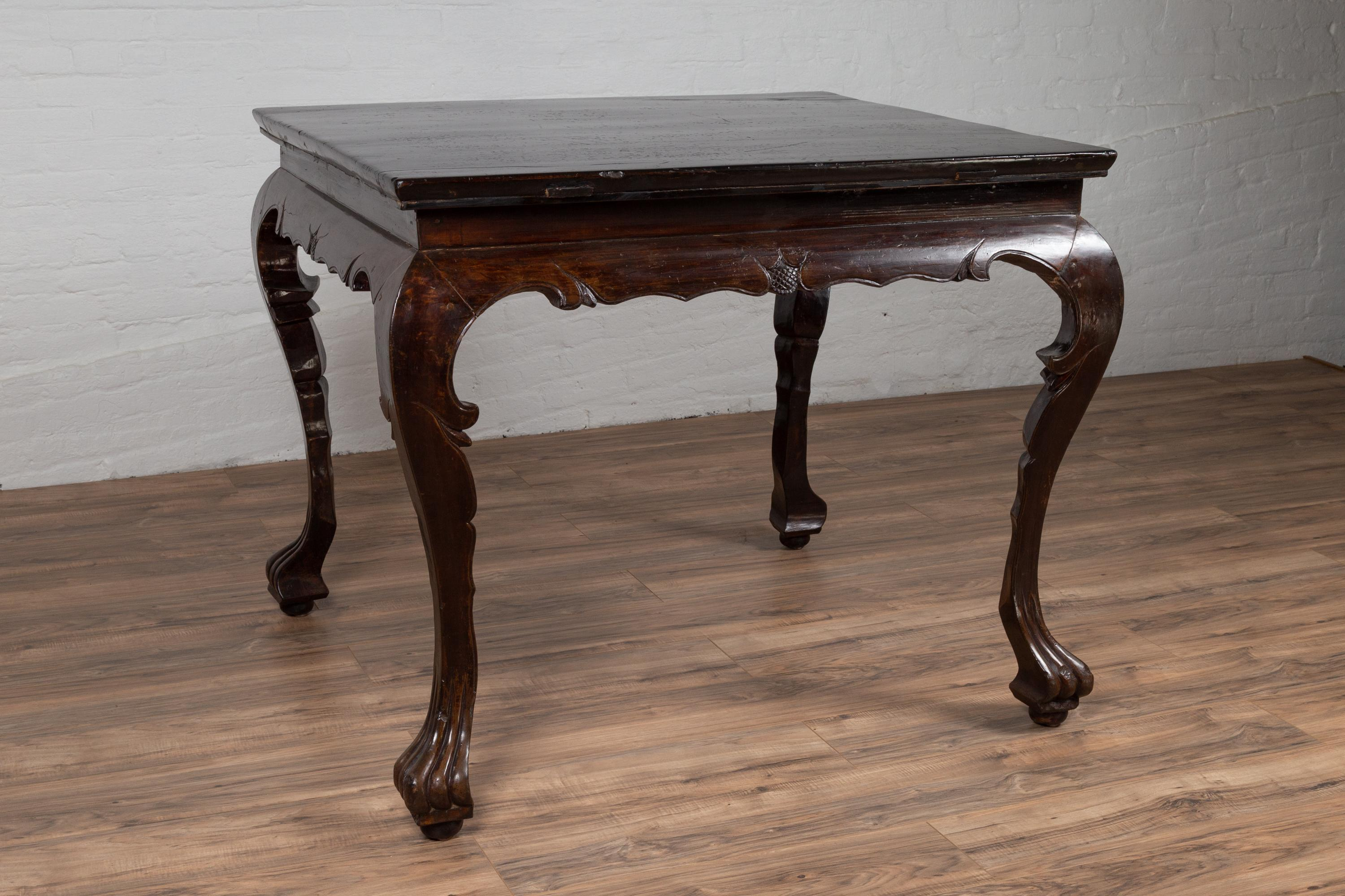 Beau Chinese Antique Center Hall Table With Black Lacquered Top And Cabriole Legs
