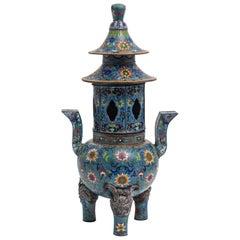 Chinese Antique Cloisonné Pagoda Form Temple Incense Burner