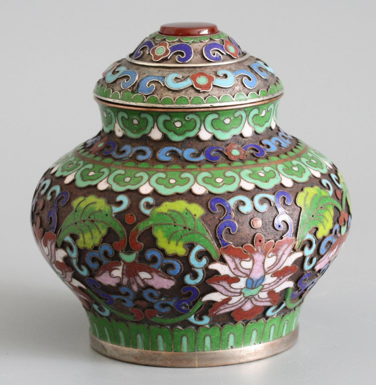 Chinese Cloisonne Silver Plated Lidded Cloisonne Pot For Sale 2