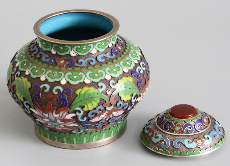 Chinese Cloisonne Silver Plated Lidded Cloisonne Pot For Sale 3