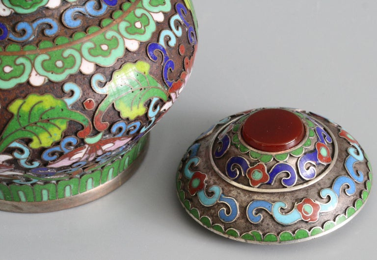 Chinese Cloisonne Silver Plated Lidded Cloisonne Pot For Sale 4