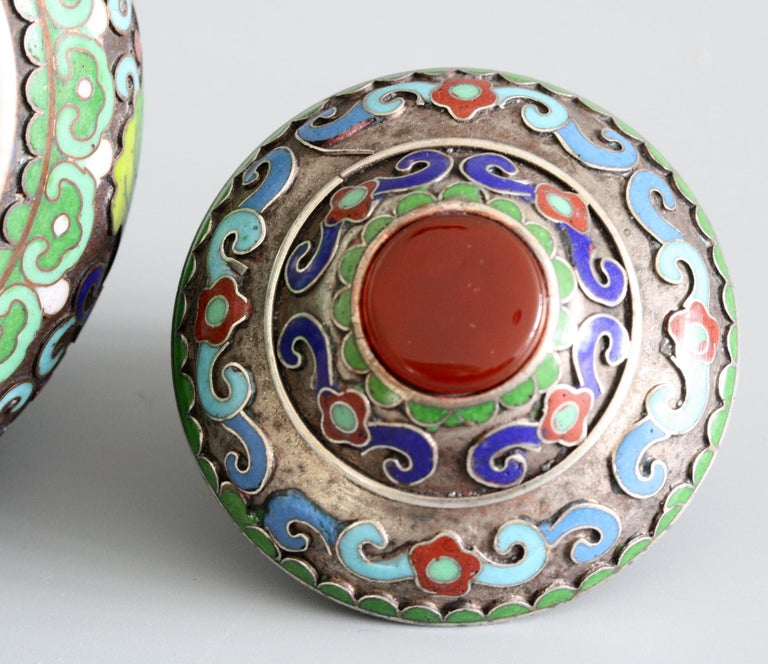 Qing Chinese Cloisonne Silver Plated Lidded Cloisonne Pot For Sale