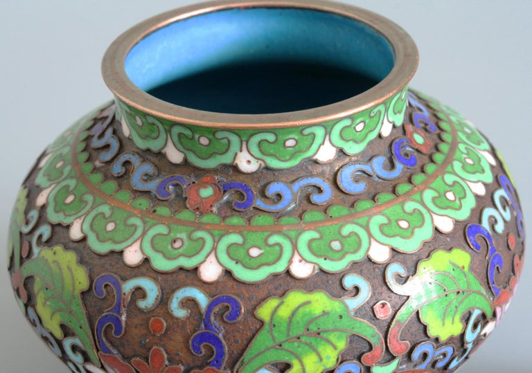 Asian Chinese Cloisonne Silver Plated Lidded Cloisonne Pot For Sale
