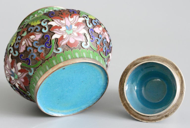 Chinese Cloisonne Silver Plated Lidded Cloisonne Pot For Sale 1