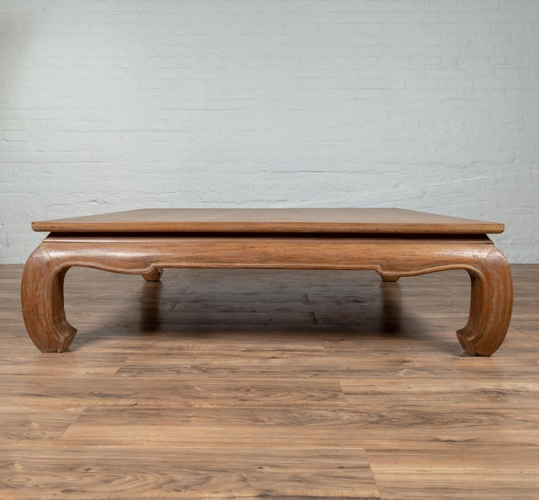 Chinese Antique Coffee Table With Natural Patina Bulging Legs And Waisted Apron