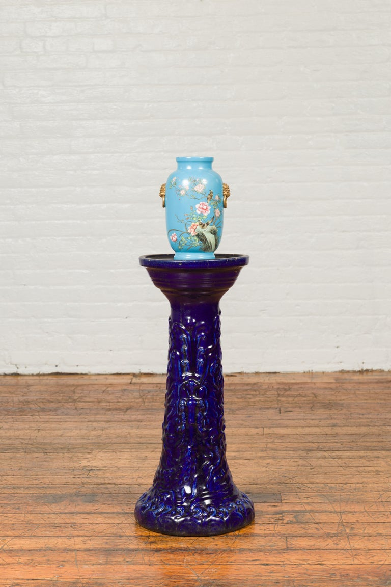 Chinese Antique Dark Blue Glazed Artisan Pedestal Stand with Scrolling Effects For Sale 6