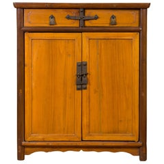 Chinese Antique Elm Two-Toned Cabinet with Cut Bronze Hardware and Yellow Patina